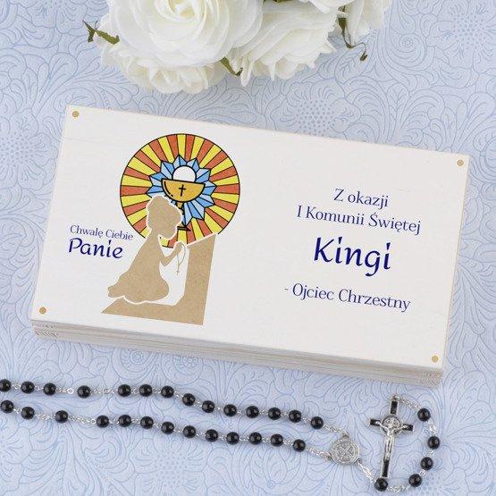 Drewniane pudełko na koperty - modlitwa