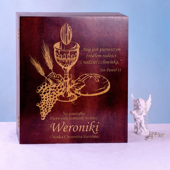 Drewniane pudełko prezentowe - Pamiątka Pierwszej Komunii Św - Kielich