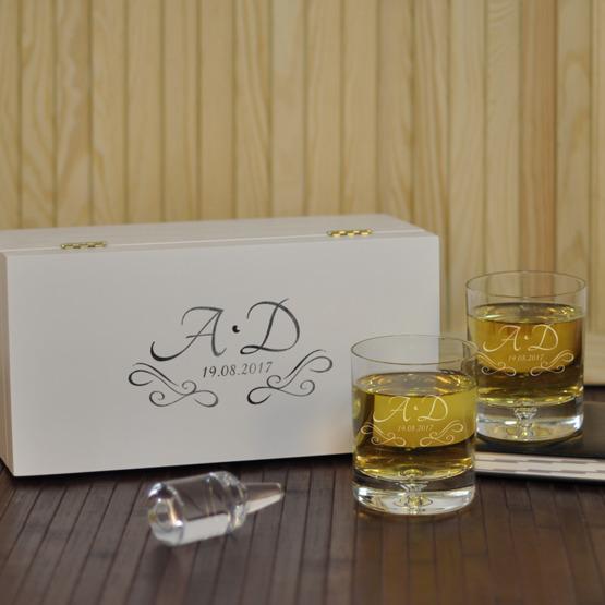 Dwie szklanki w pudełku z nadrukiem- Inicjały + data