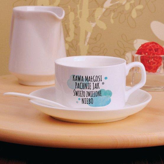 Filiżanka z nadrukiem- kawa jak świeżo zmielone niebo