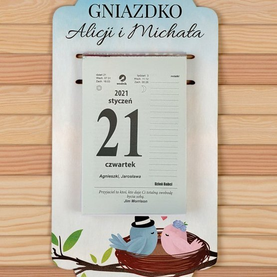 Kalendarz na deseczce z nadrukiem- Gniazdko ...