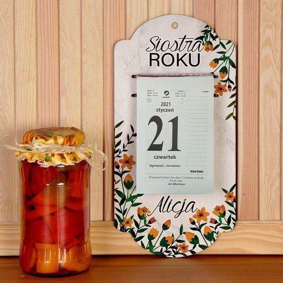 Kalendarz na deseczce z nadrukiem- siostra roku