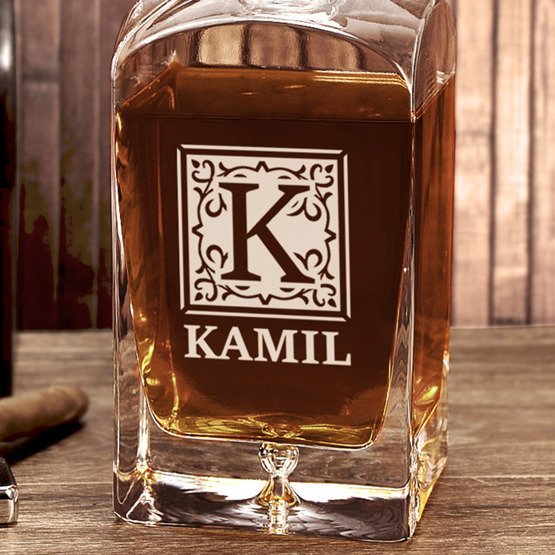 Karafka do whisky- Monogram + imię