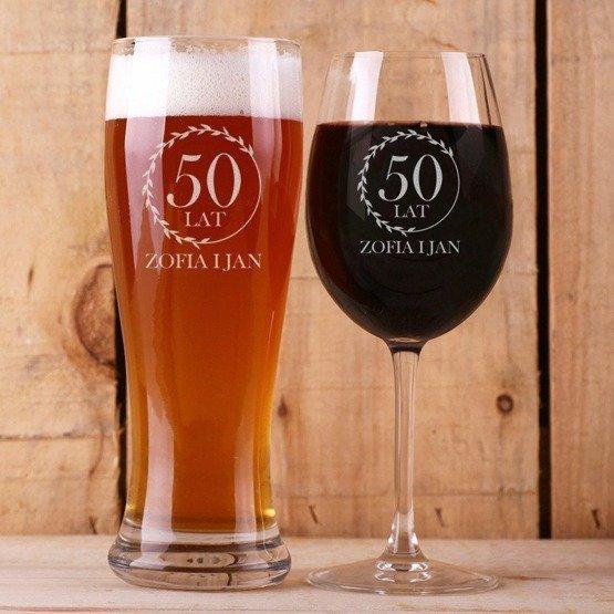 Kieliszek do wina i szklanka do piwa - Rocznica ślubu - Wieniec Laurowy