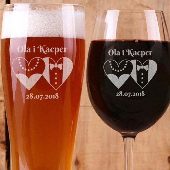 Kieliszek do wina i szklanka do piwa - Serca