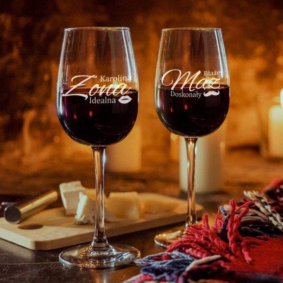 Kieliszki do wina- Żona idealna i doskonały Mąż- prezent na ślub