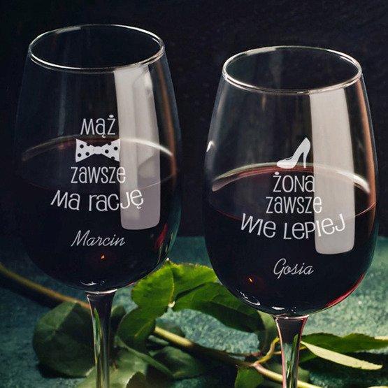 Kieliszki do wina -  mąż ma rację, żona wie lepiej