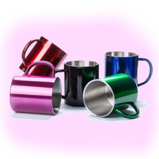 Kubek metalowy-Przed i po kawie