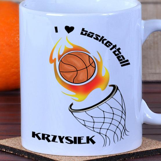 Kubek z kolorowym nadrukiem 'I love basketball'