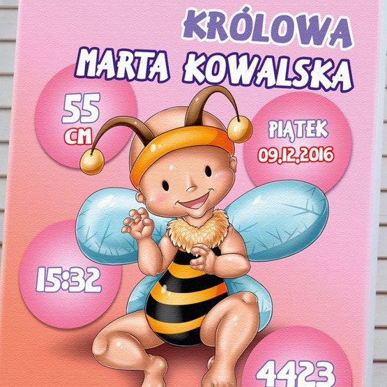 """Metryczka dla dziewczynki """"Pszczółka""""- obraz na płótnie"""