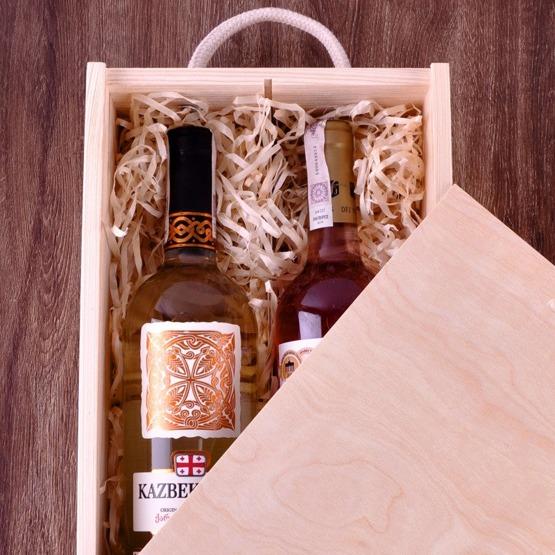 Pudełko z przegródką na dwa wina - ornament