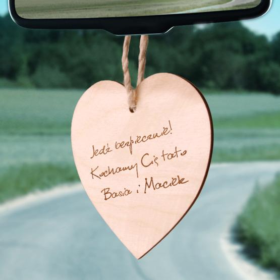 Zawieszka drewniana serce z grawerunkiem - Jedź bezpiecznie!