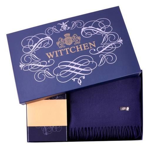 Zestaw prezentowy damski WITTCHEN XV - czerwony portfel + granatowy szal