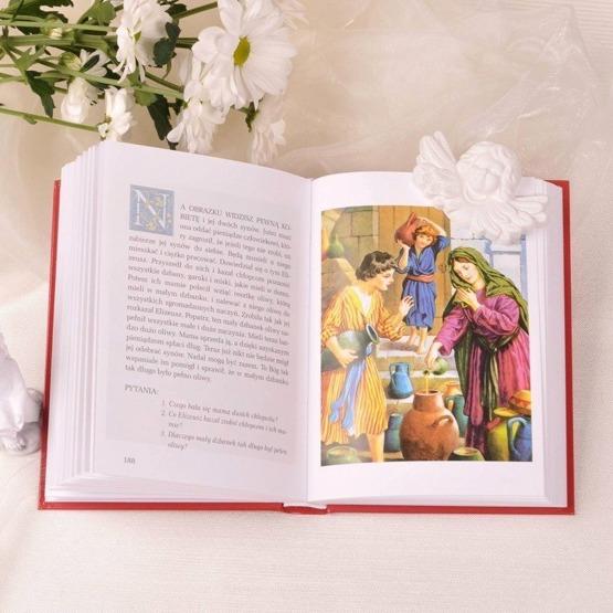Zestaw prezentowy na I Komunię Świętą z Biblią, Statuetką i Portfelem.