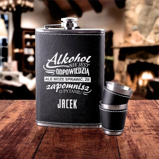 Zestaw prezentowy piersiówka z akcesoriami - alkohol